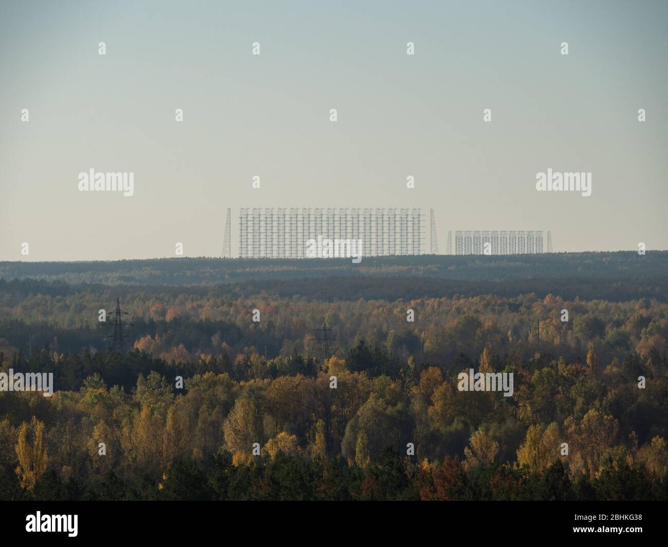 View from roof of ghost town Pripyat, post apocalyptic city and Moscow eye, autumn season in Chernobyl exclusion zone, Ukraine Stock Photo