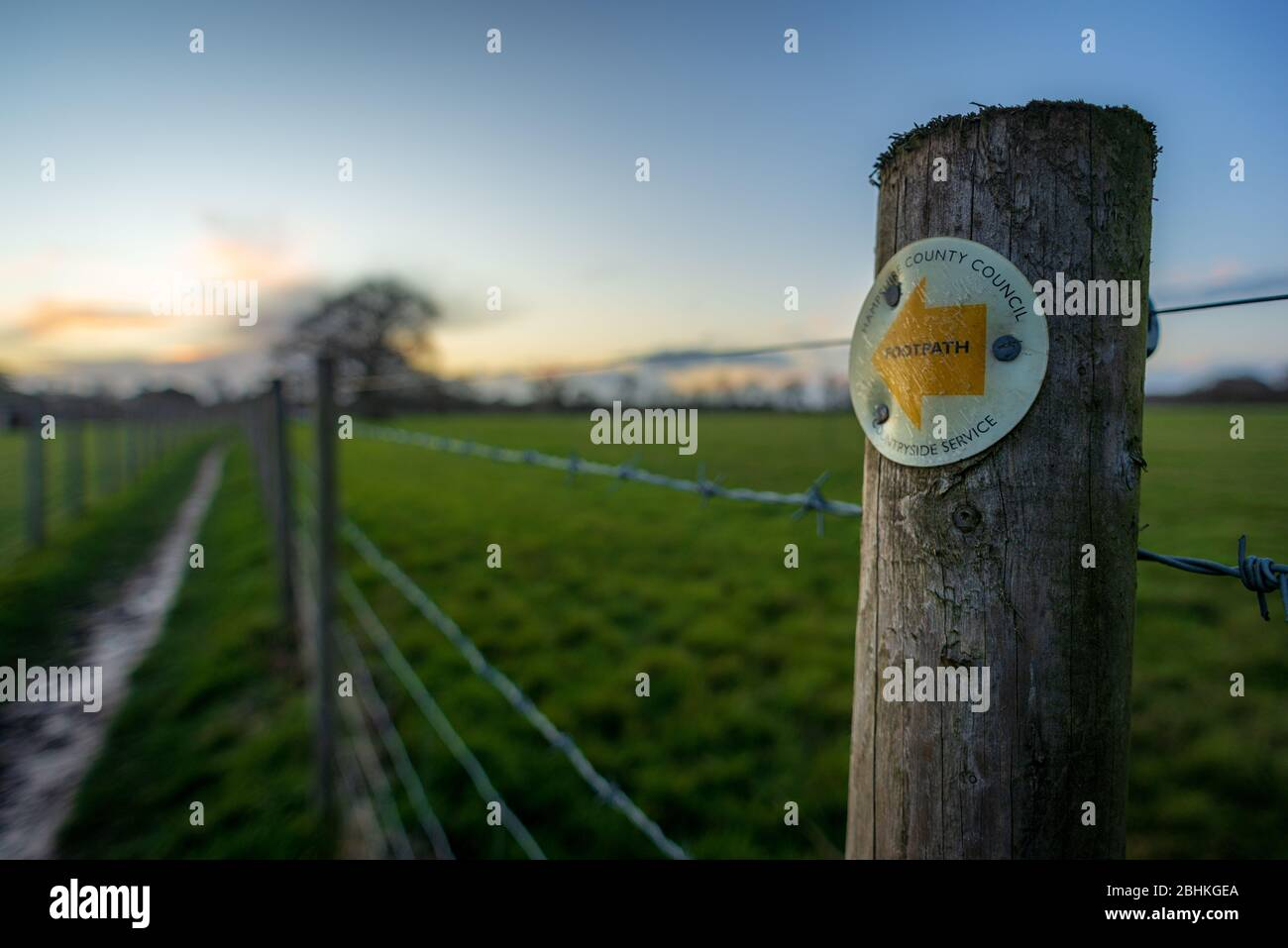 County Council and Countryside Service sign on a wooden post on a footpath in evening light, Hampshire, UK Stock Photo