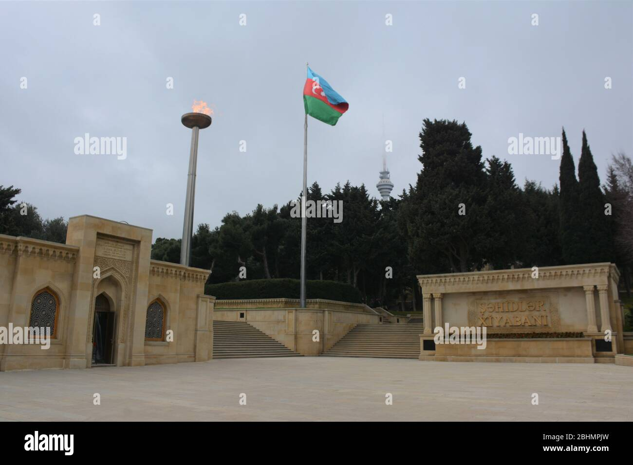 Sahidlar Xiyabani, also known as Martyrs' Lane and Alley of Martyrs, is a cemetery, memorial and viewpoint in Baku, Azarbaijan. Stock Photo