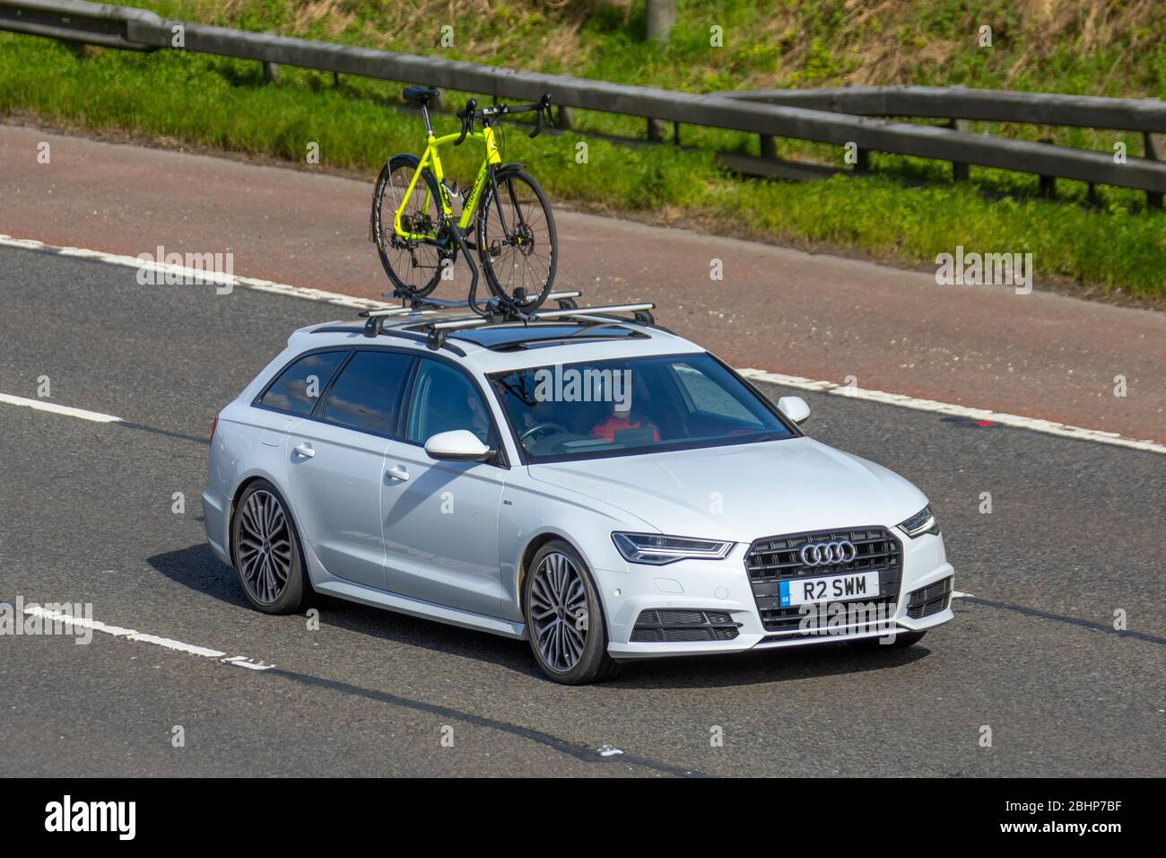 2017 white Audi A6 Sline Black ED TDI ULT; Vehicular traffic moving vehicles, driving vehicle on UK roads, motors, motoring on the M6 motorway highway Stock Photo