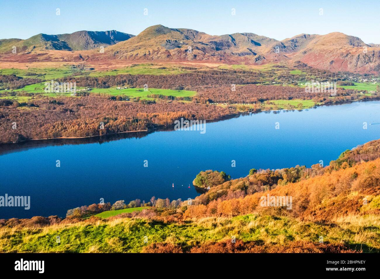 Coniston Water and Coniston Fells from Park Crags in the Lake District Stock Photo