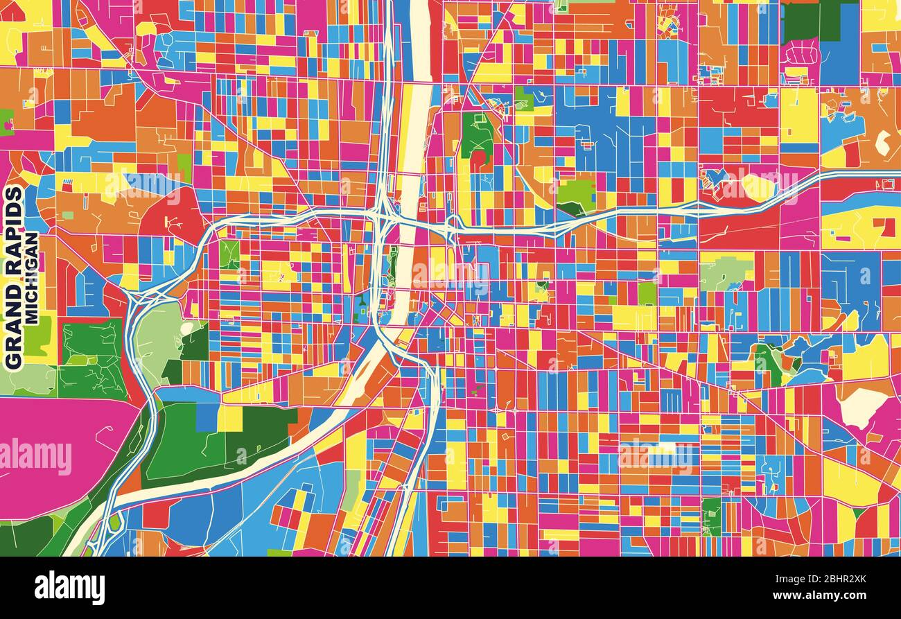 Colorful Vector Map Of Grand Rapids Michigan Usa Art Map Template For Selfprinting Wall Art In Landscape Format Stock Vector Image Art Alamy