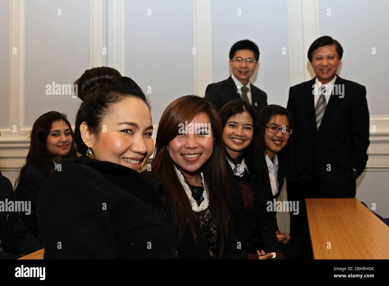 During November 2012 . Her Excellency Ms .Yingluck Shinawatra , Prime Minister of the Kingdom of Thailand , paid an official visit to the United Kigdom .invited by PM David Cameron . the Thai PM was accompanied by key members of the Thai Cabinet . On the 13 November the Thai PM had an audience with the Queen . On the 14 th November the two PM exchanged views on various matters of mutual interest , bilaterally ,regionally and globally. To the end of this meeting , both leaders have agreed to the establishment of a Strategic Dialogue and agreed a new mechanism beneficial for both countries .. Stock Photo