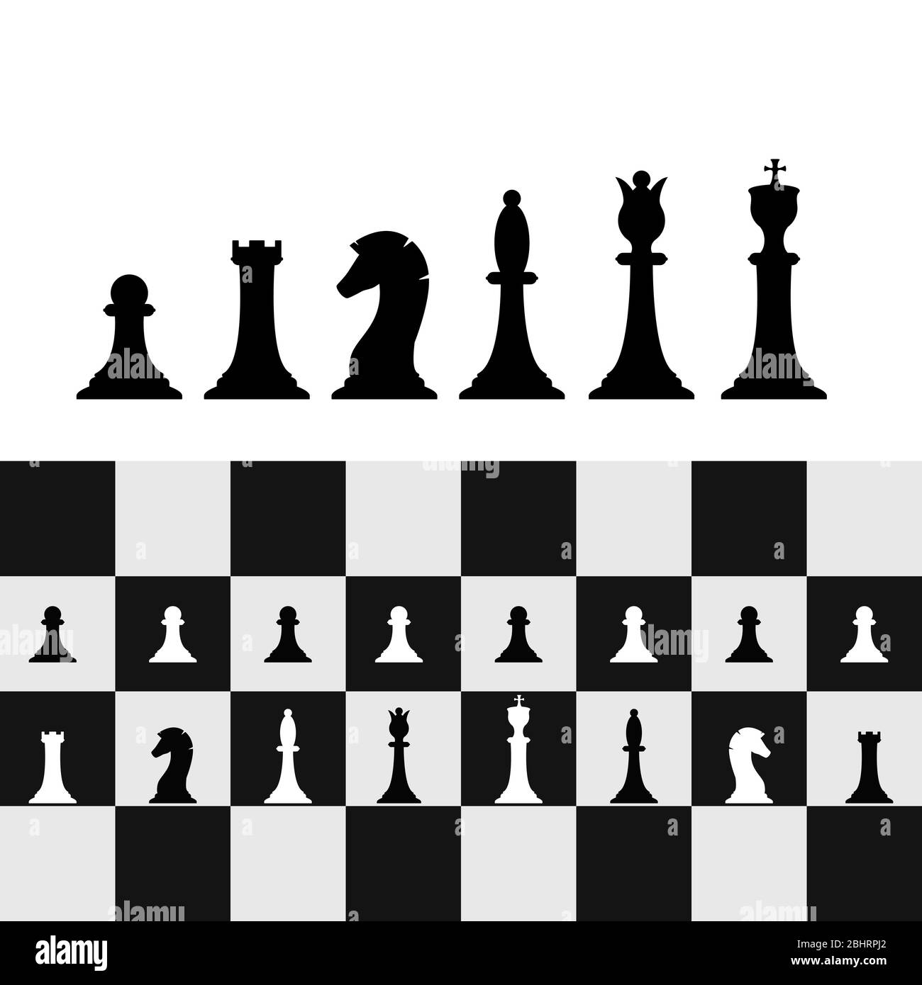 Set of chess pieces on chessboard. Chess strategy and tactic. Vector illustration Stock Vector