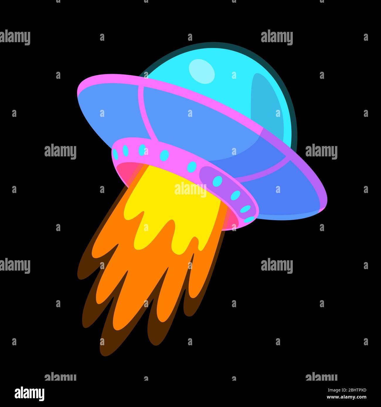 Fantasy Flying Saucer Cartoon Sticker Ufo Vector Color Illustration Childish Spaceship Isolated On Black Background Alien Ship Design Element Cosmic Kid Clip Art Stock Vector Image Art Alamy