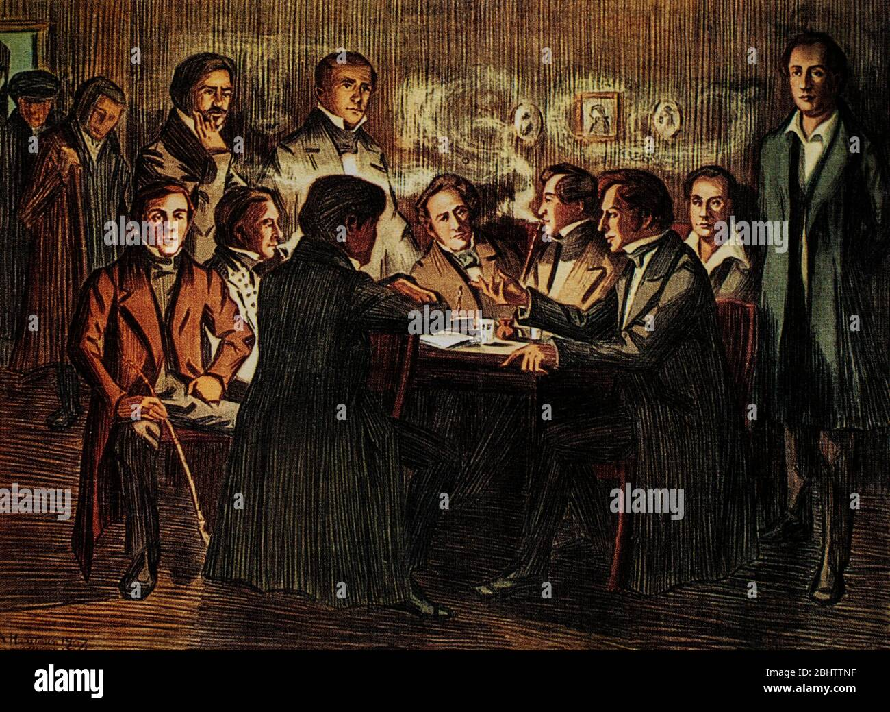 A meeting of the Saturday Society, a society founded by students and young teachers at the University of Helsinki in the spring of 1830, which met on Saturday evenings with one of its members. Literature was bought with common funds and enthusiastic discussions about them often dragged on late into the night. Initially, the discussions concerned literature and philosophy, but later the aim became the creation of a national Finland. (Artist unknown, but possibly Albert Edelfelt (1854-1905), a Finnish painter noted for his naturalistic style and Realist approach to art.) Stock Photo