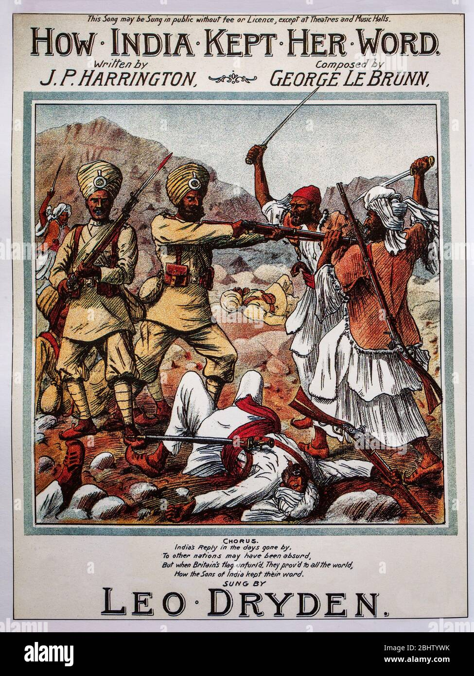19th Century sheet music cover extolling the loyalty of Indian soldiers under British command during the British Raj. Stock Photo