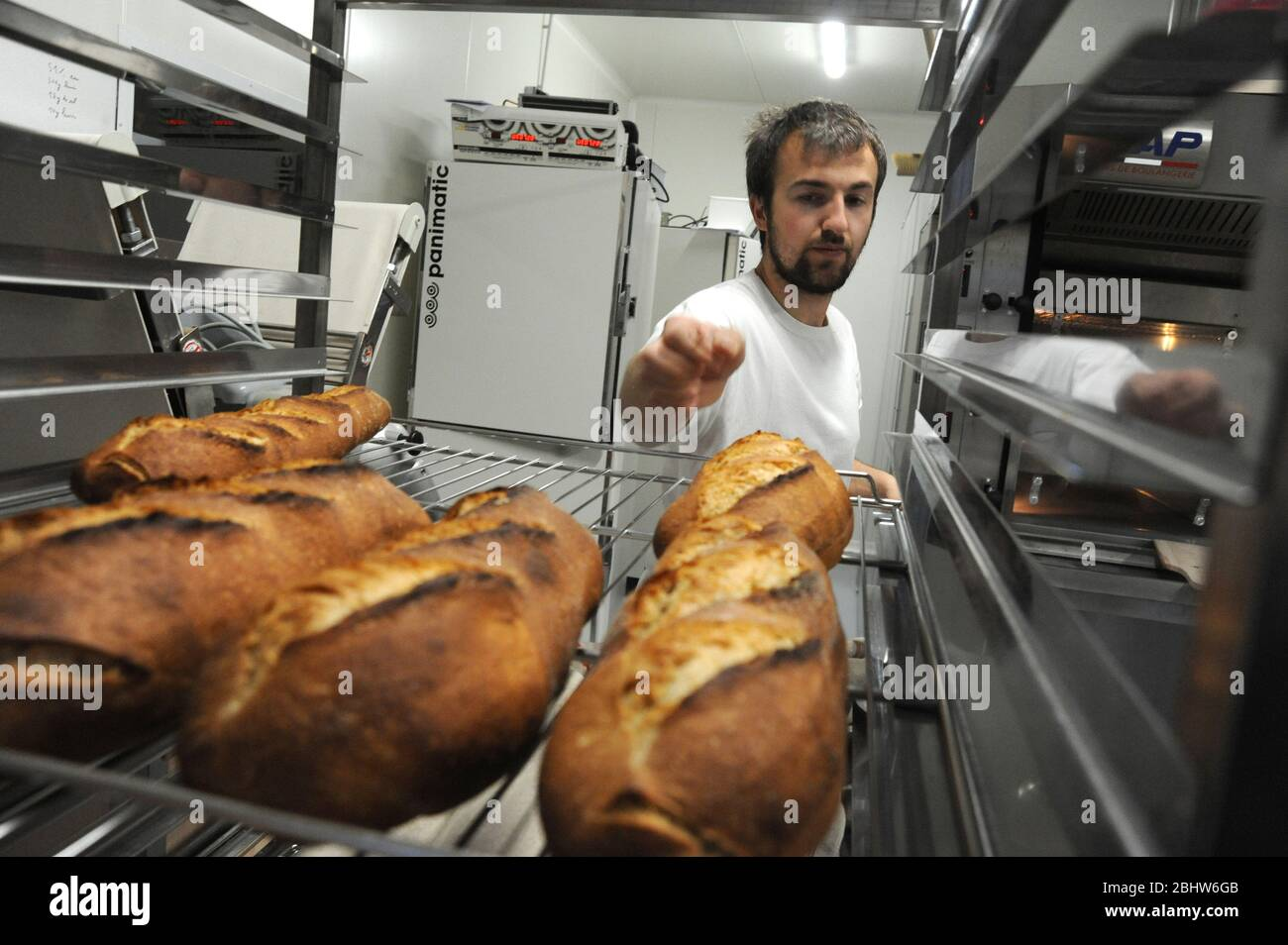 Manufacture of organic bread Stock Photo