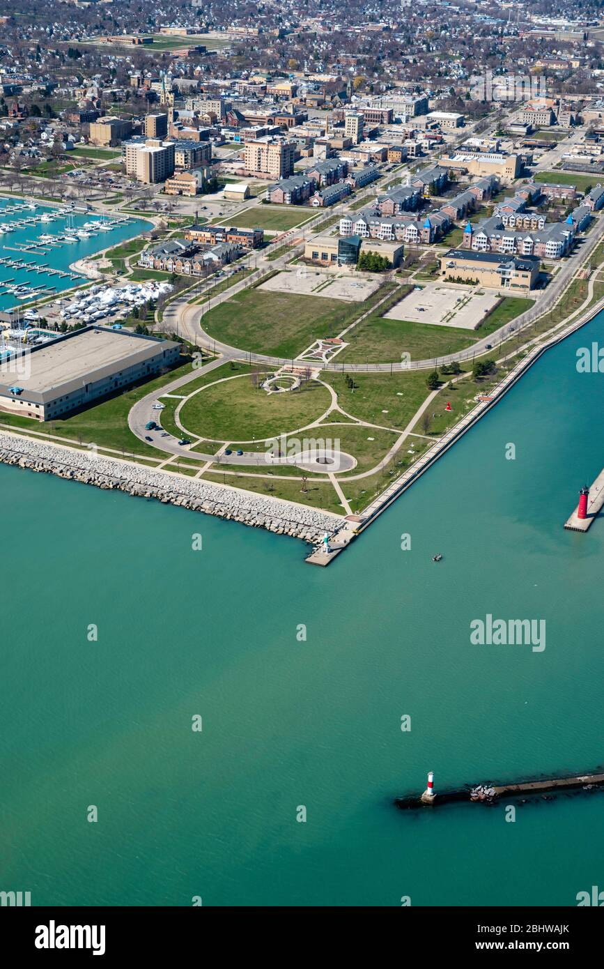Aerial view of Kenosha, Wisconsin on a sunny April day ...