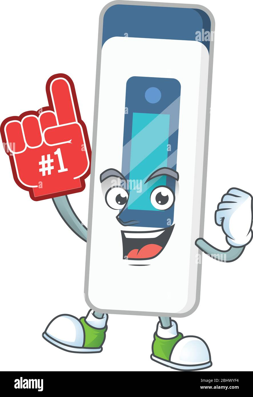 Cartoon character concept of digital thermometer holding red foam finger Stock Vector