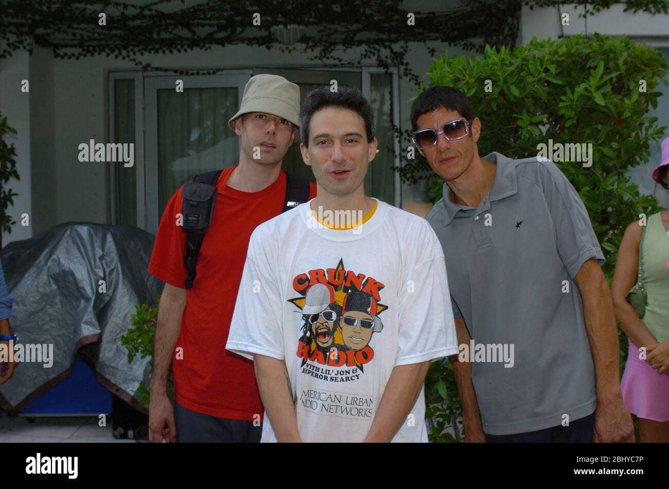MIAMI BEACH, FL - APRIL 28, 2020: FILE PHOTO - Orig pix taken - 08/27/04  The Beastie Boys at the Style Villa in South Beach Miami Beach, Florida   People:  Beastie Boys_Adam Yauch Stock Photo