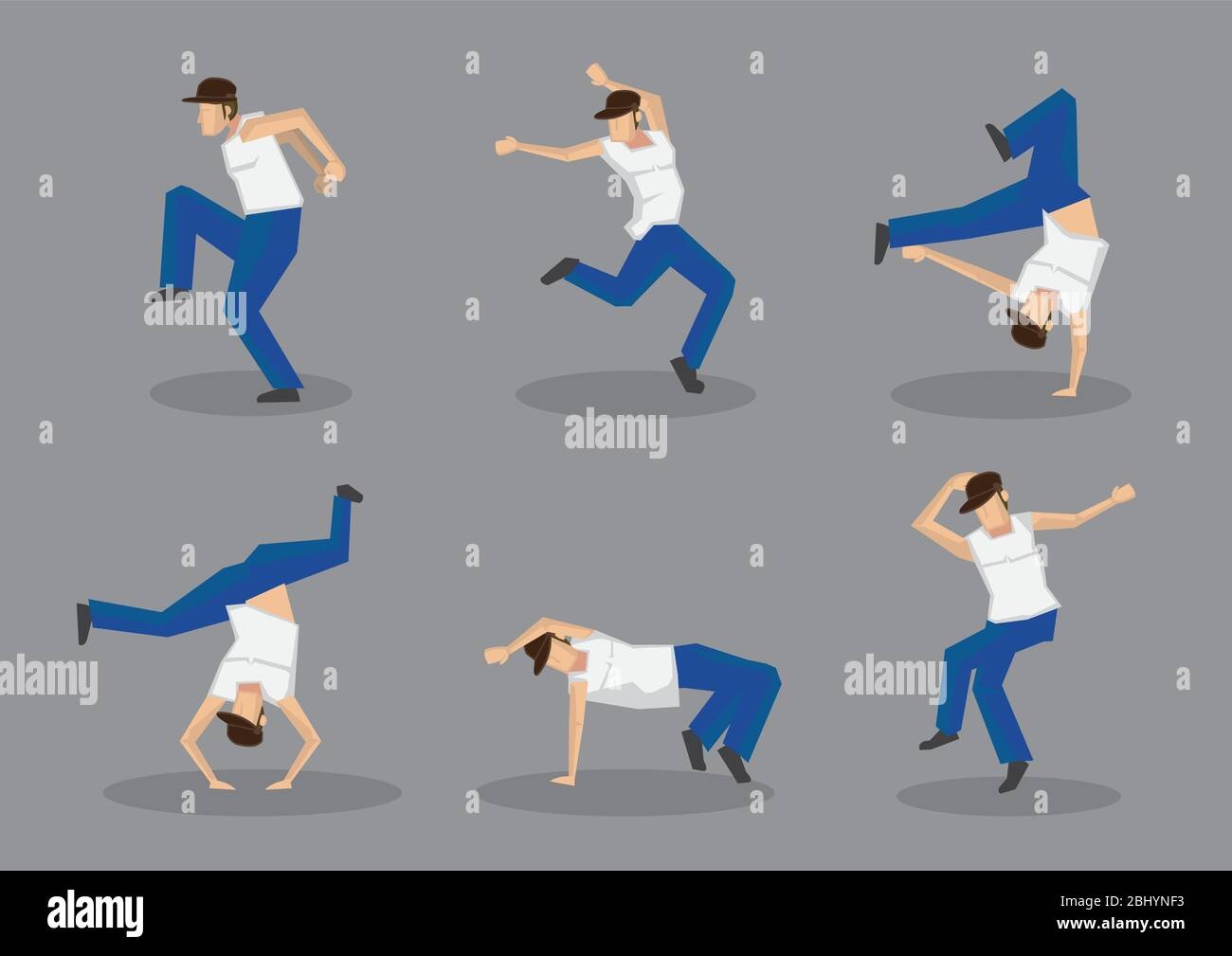 Set Of Six Male Hip Hop Dancers In Cool Street Dance Moves Vector Icons Isolated On Grey Background Stock Vector Image Art Alamy