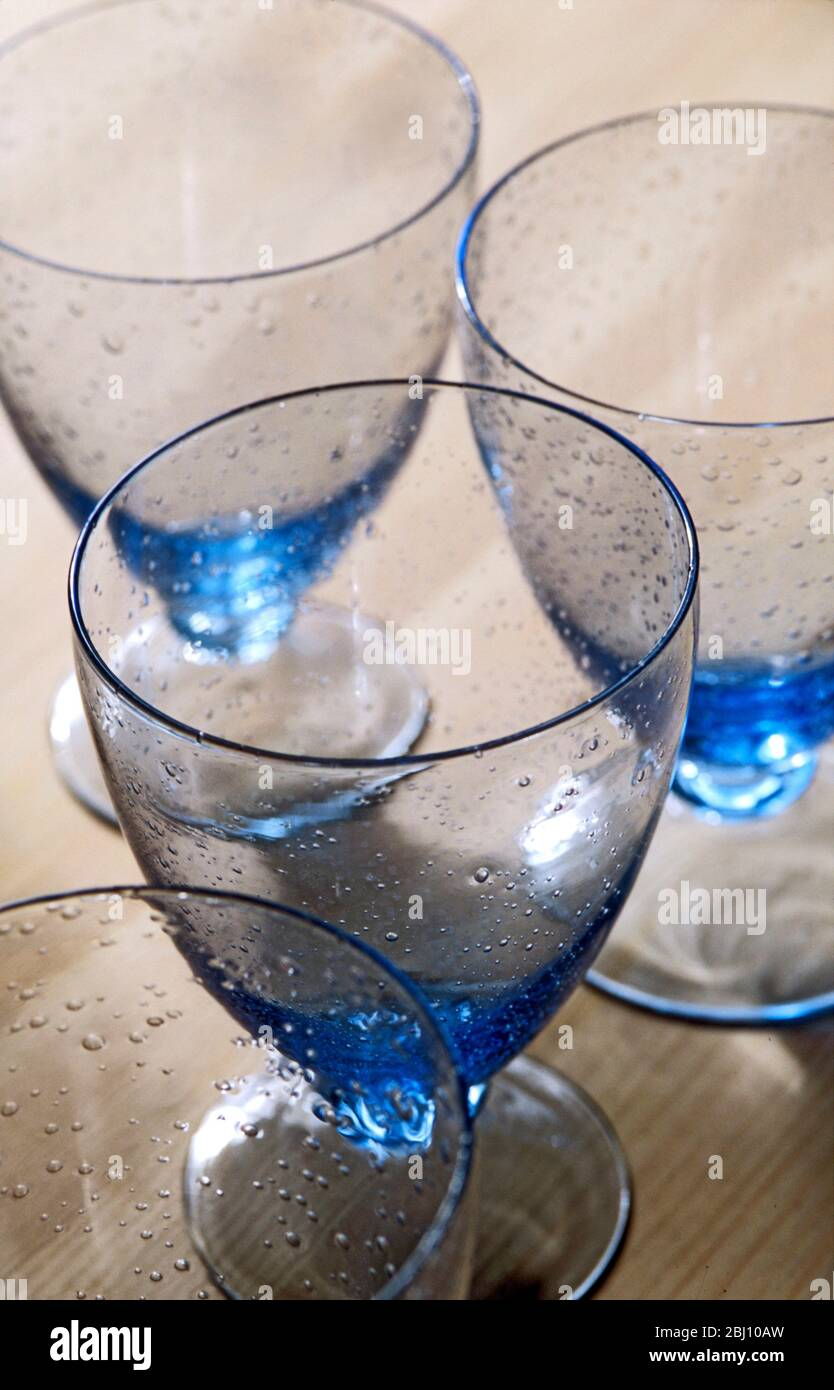 Group Of Blue Bubble Glass Water Glasses Stock Photo Alamy