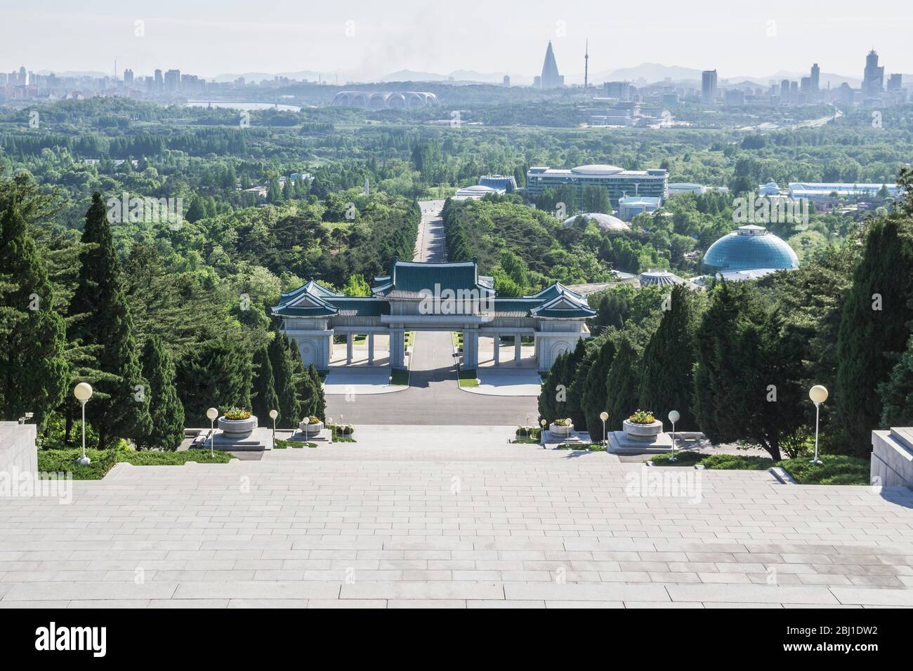 View from cemetery of martyrs of the revolution, Pyongyang, North Korea Stock Photo