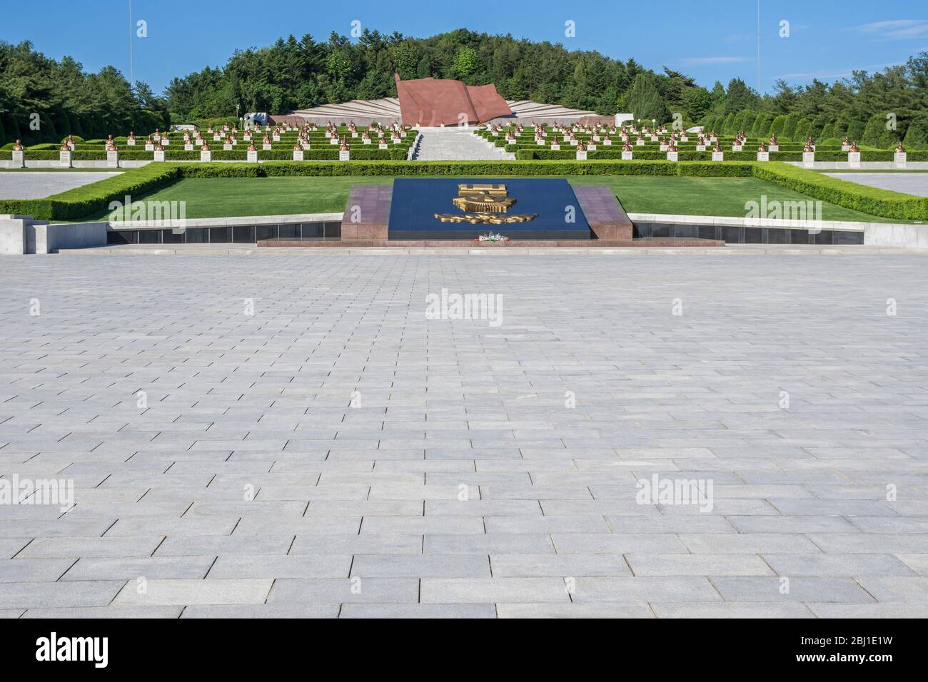 Giant stone flag of the Taesongsan revolutionary martyr's cemetery, Pyongan Province, Pyongyang, North Korea Stock Photo