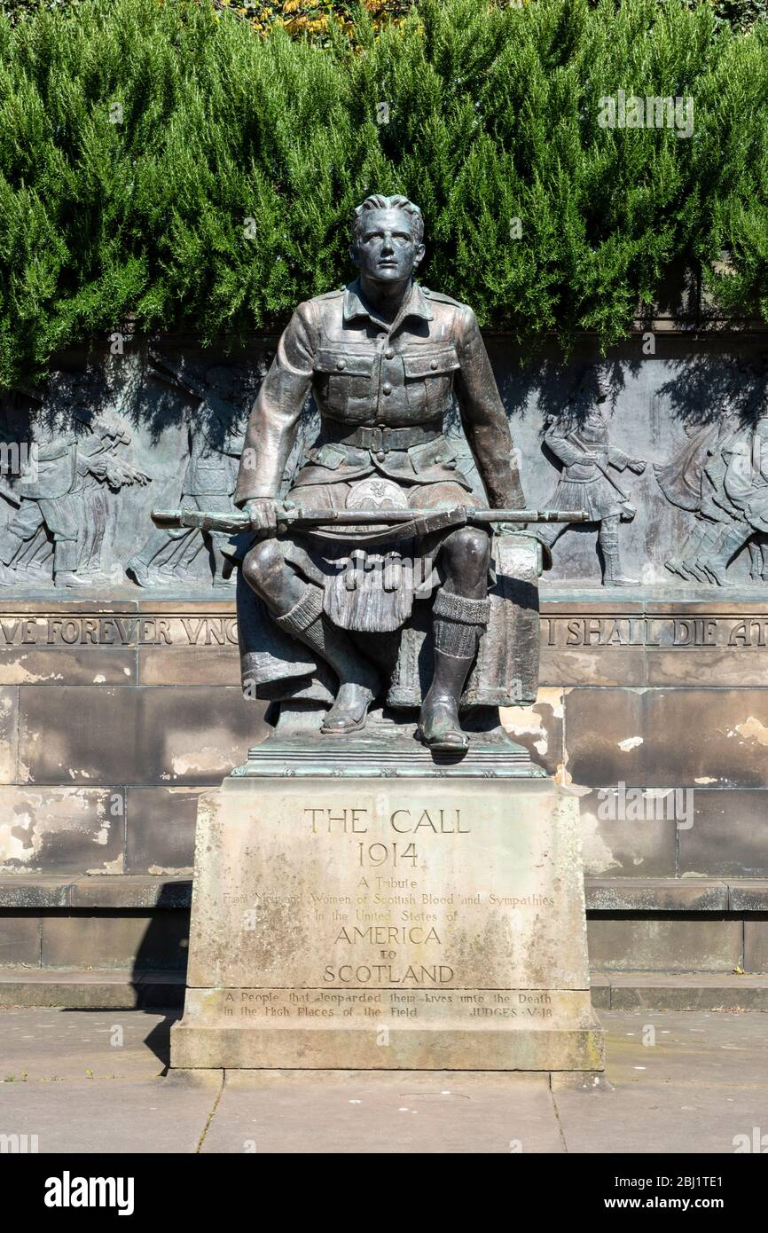 The Call 1914 - Scottish-American War Memorial in West Princes Street Gardens, Edinburgh, Scotland, UK Stock Photo