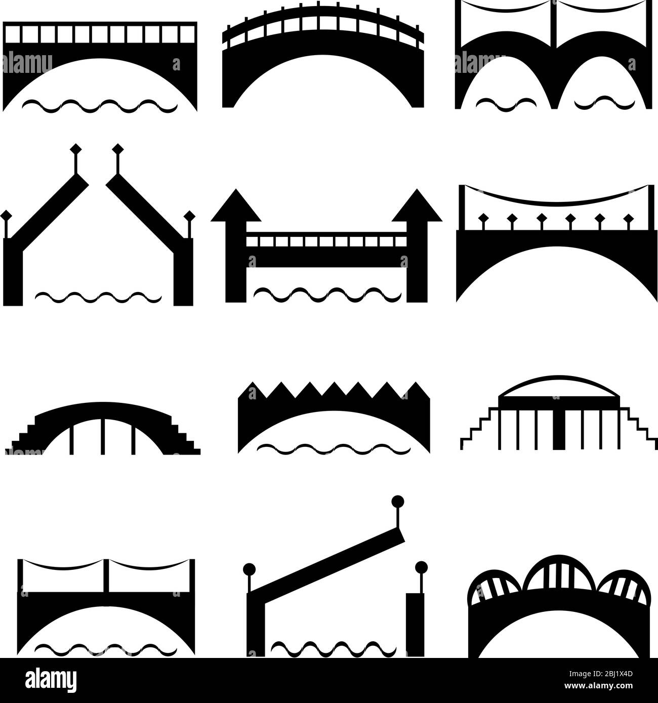 a set of black bridge silhouettes modern and retro architecture road across the river vector icons stock vector image art alamy alamy