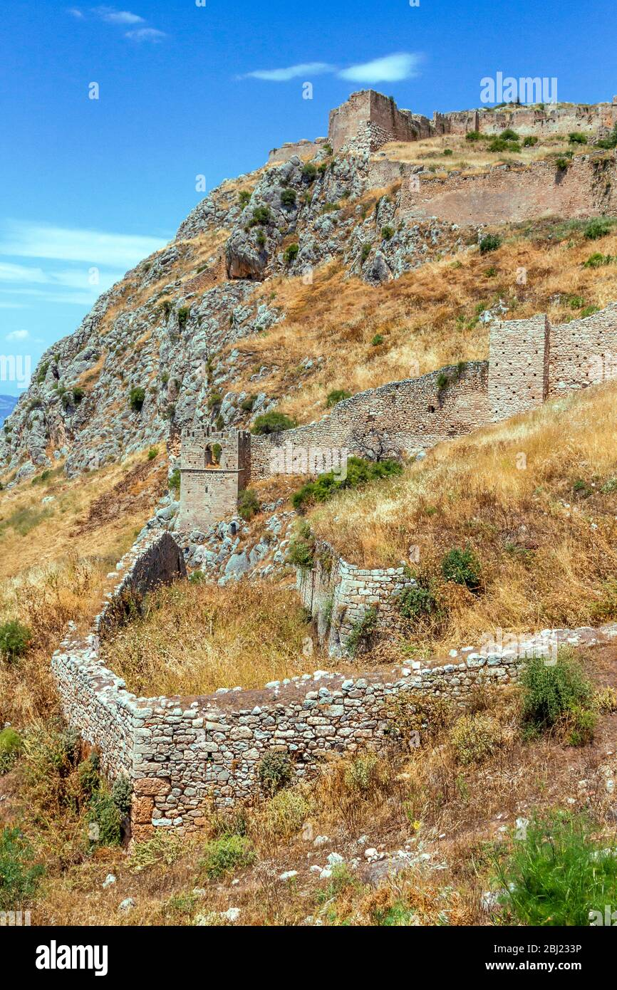 The castle of Akrokorinthos, known as a fortress from the antiquity and constructed as seen today during byzantine and medieval times. Stock Photo