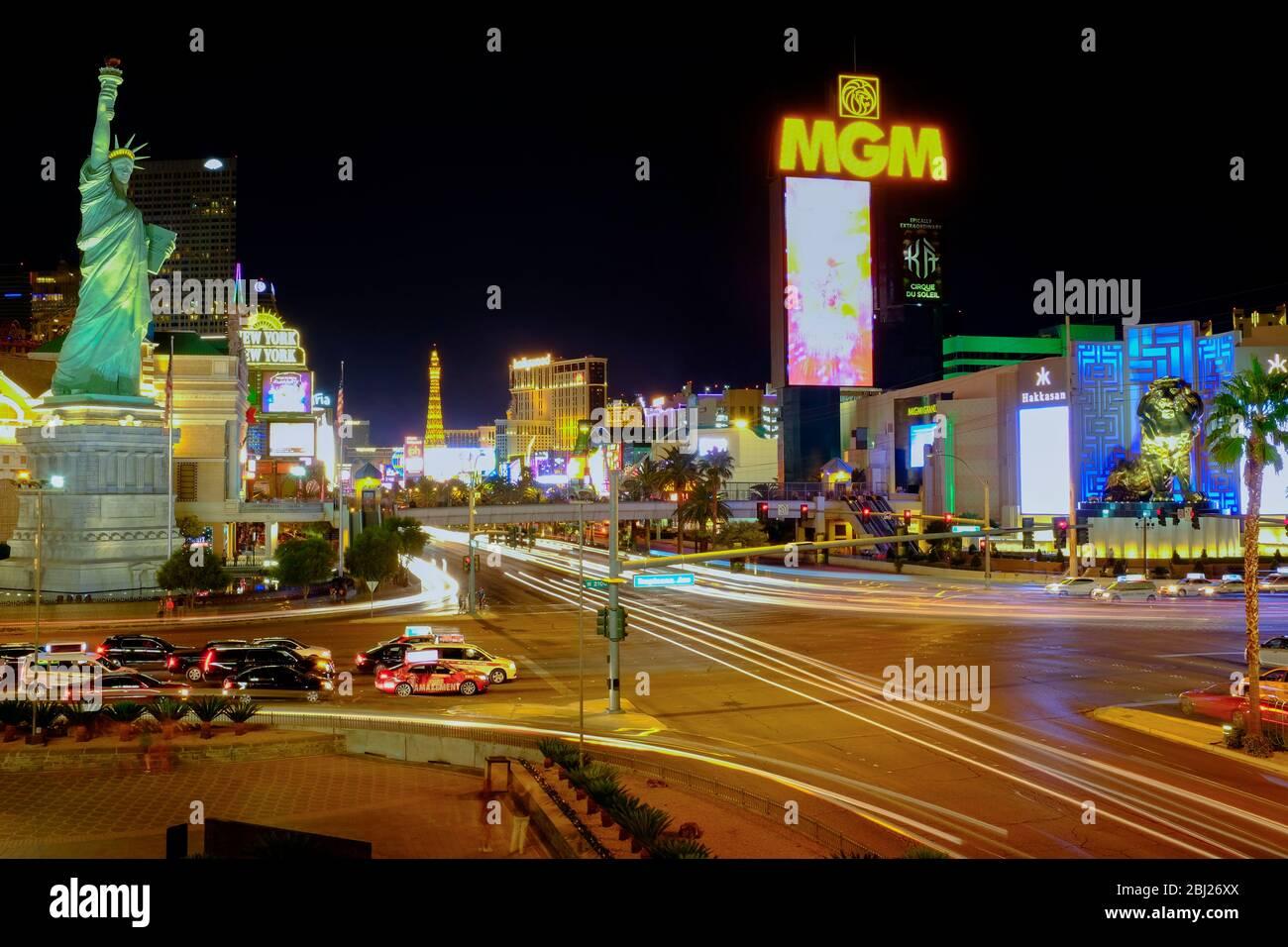 Long exposure shot of the Las Vegas strip at night, Las Vegas, Nevada. Stock Photo