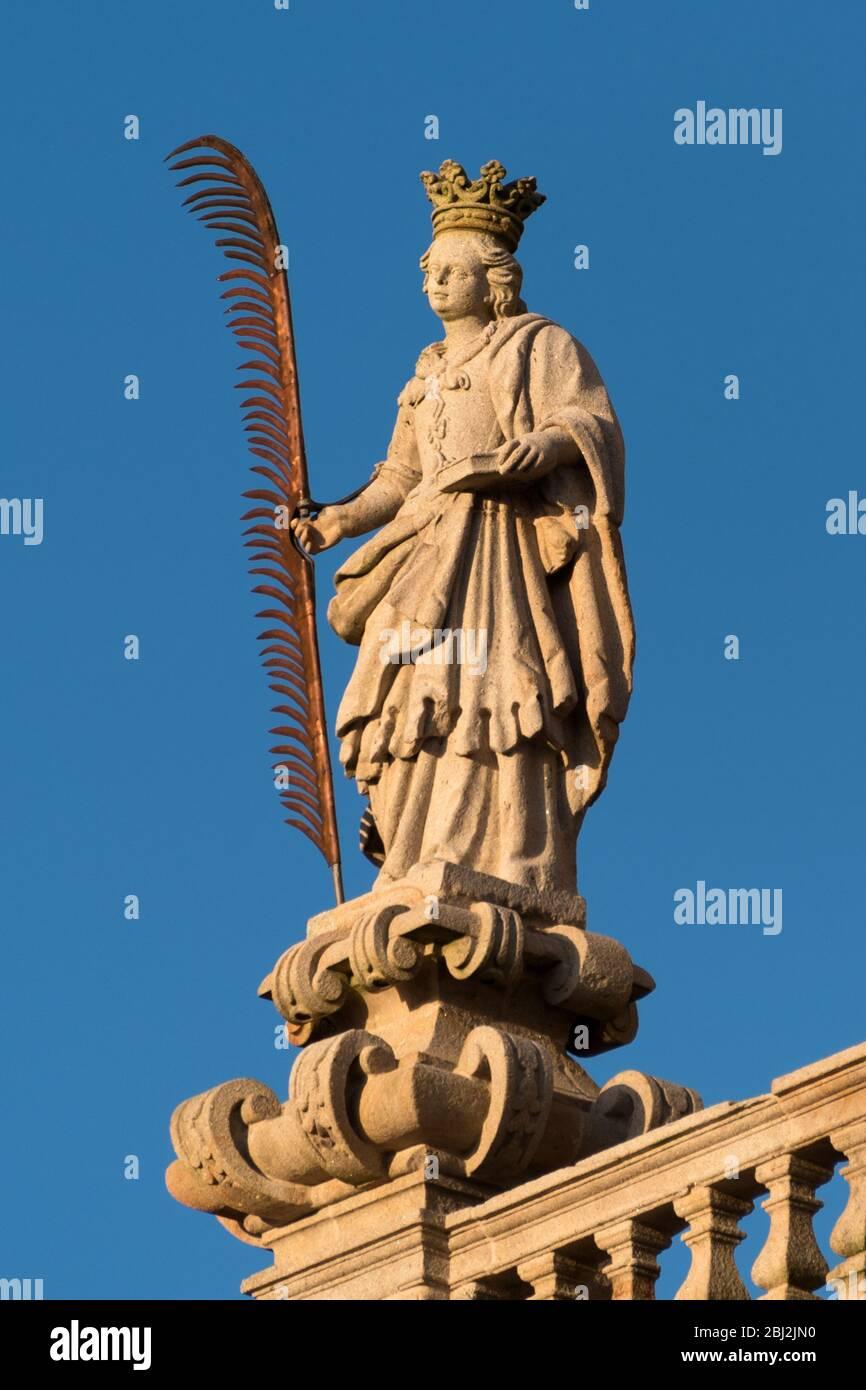 Santiago de Compostela Cathedral, Galicia, Spain. Statues of St. Susanna. Obradeiro square in Santiago de Compostela The ending point of ancient Stock Photo