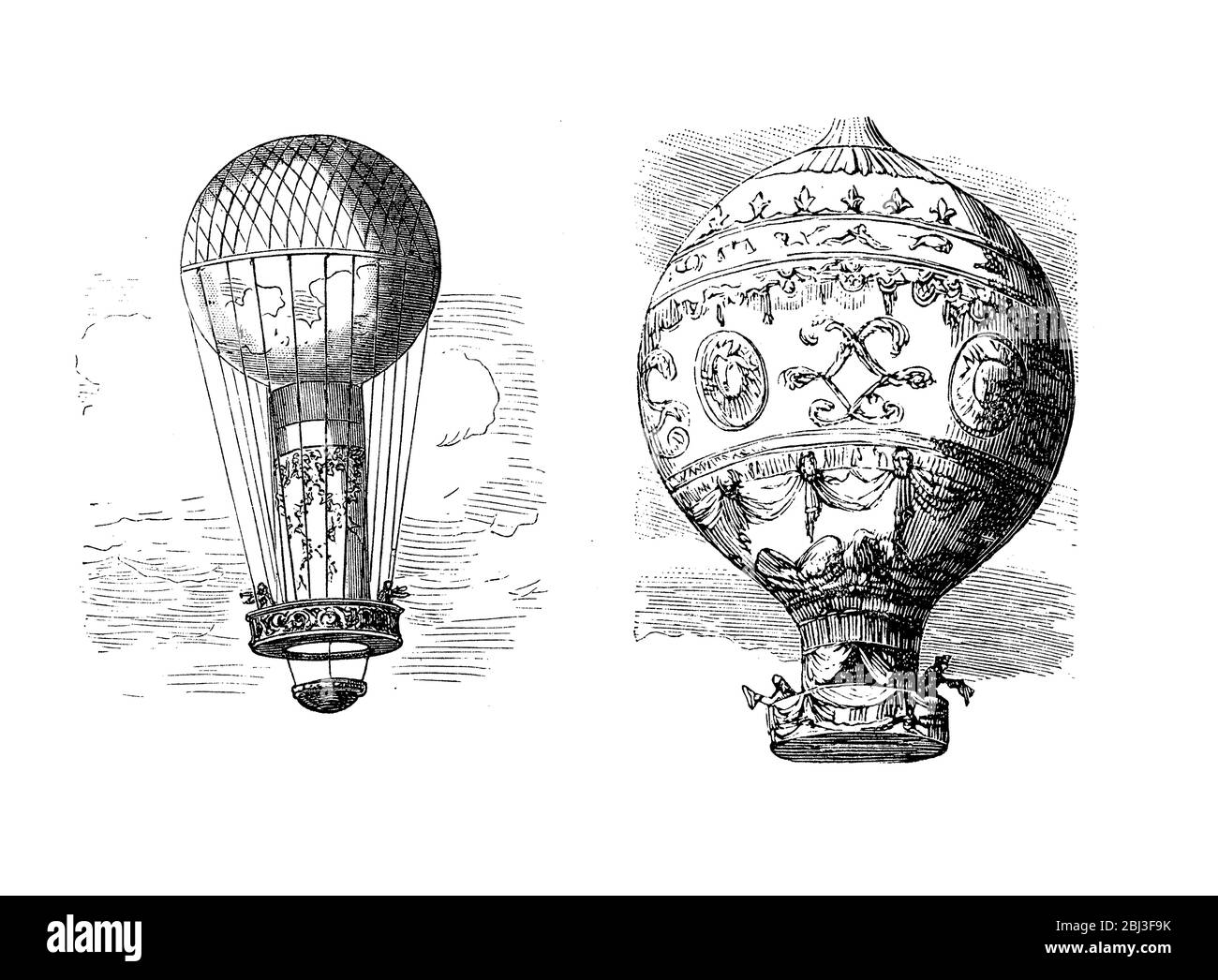 The first untethered balloon flight by Pilatre de Rozier and the Marquis d'Arlandes from de Bois de Boulogne Paris in 1783 Stock Photo
