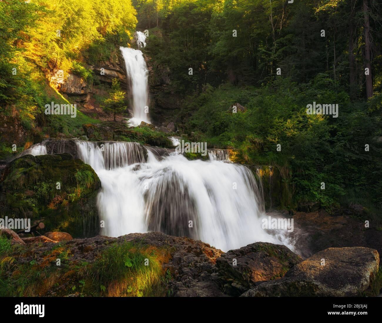 View of Giessbach Waterfall at sunset - Brienzersee, Switzerland Stock Photo
