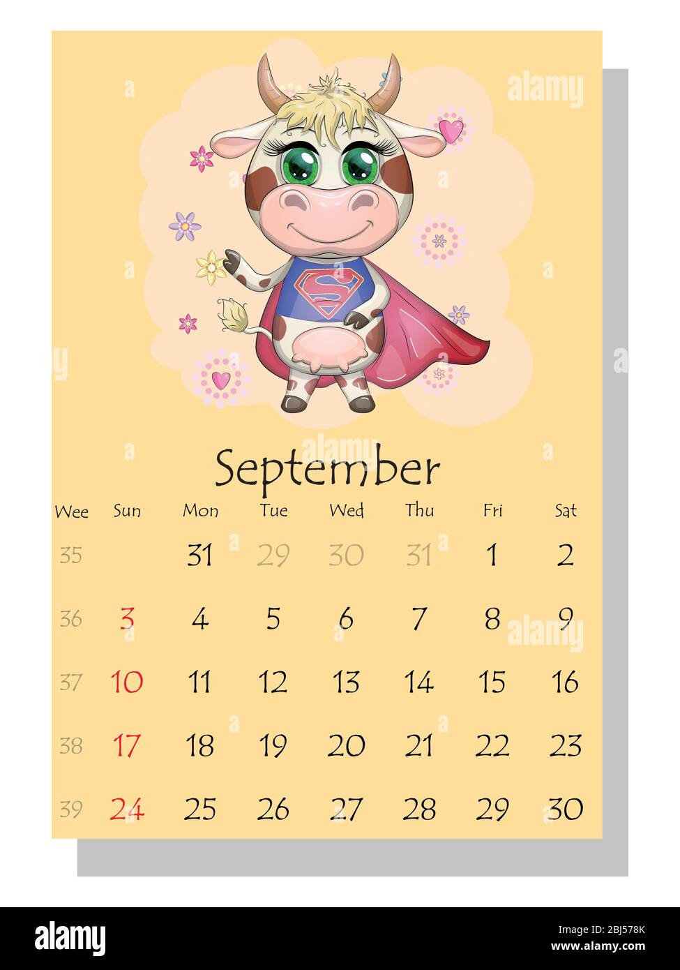 Pictures of 2021 Cow Calendar September
