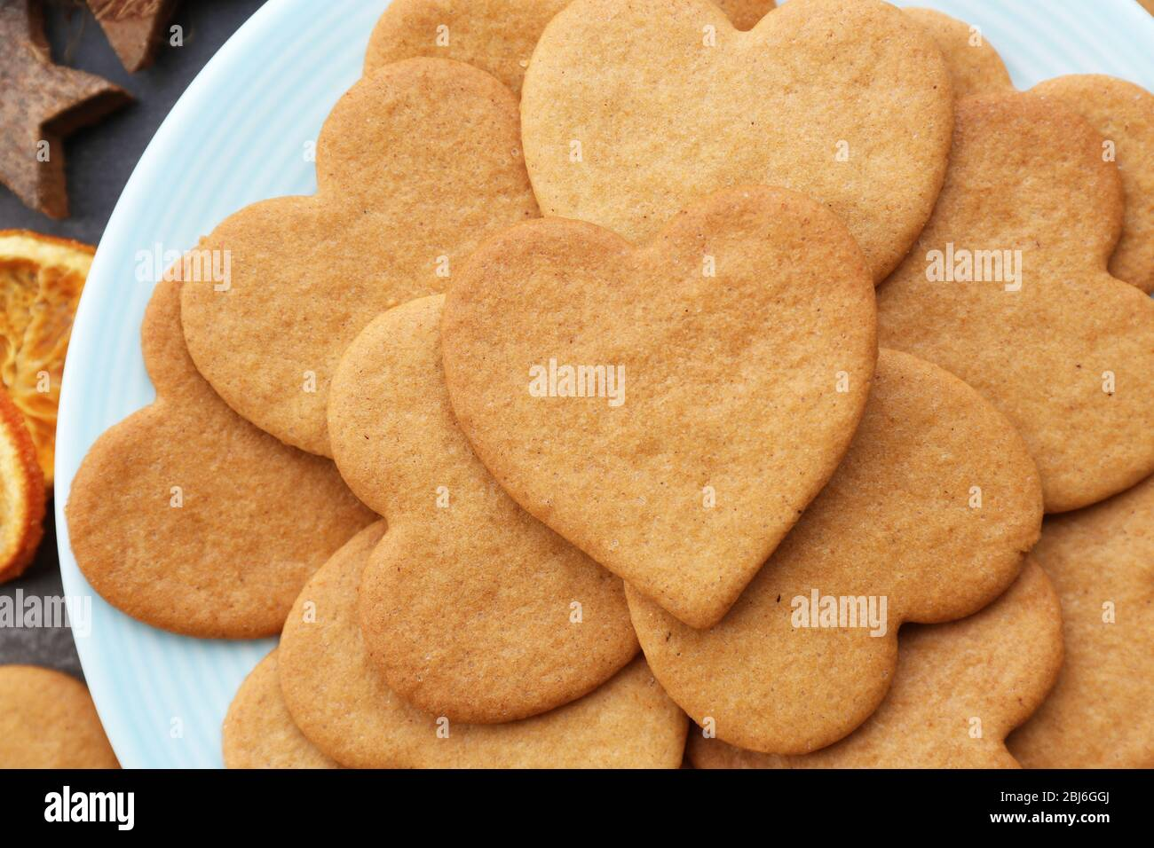 Heart Shaped Biscuits On Plate Top View Stock Photo Alamy