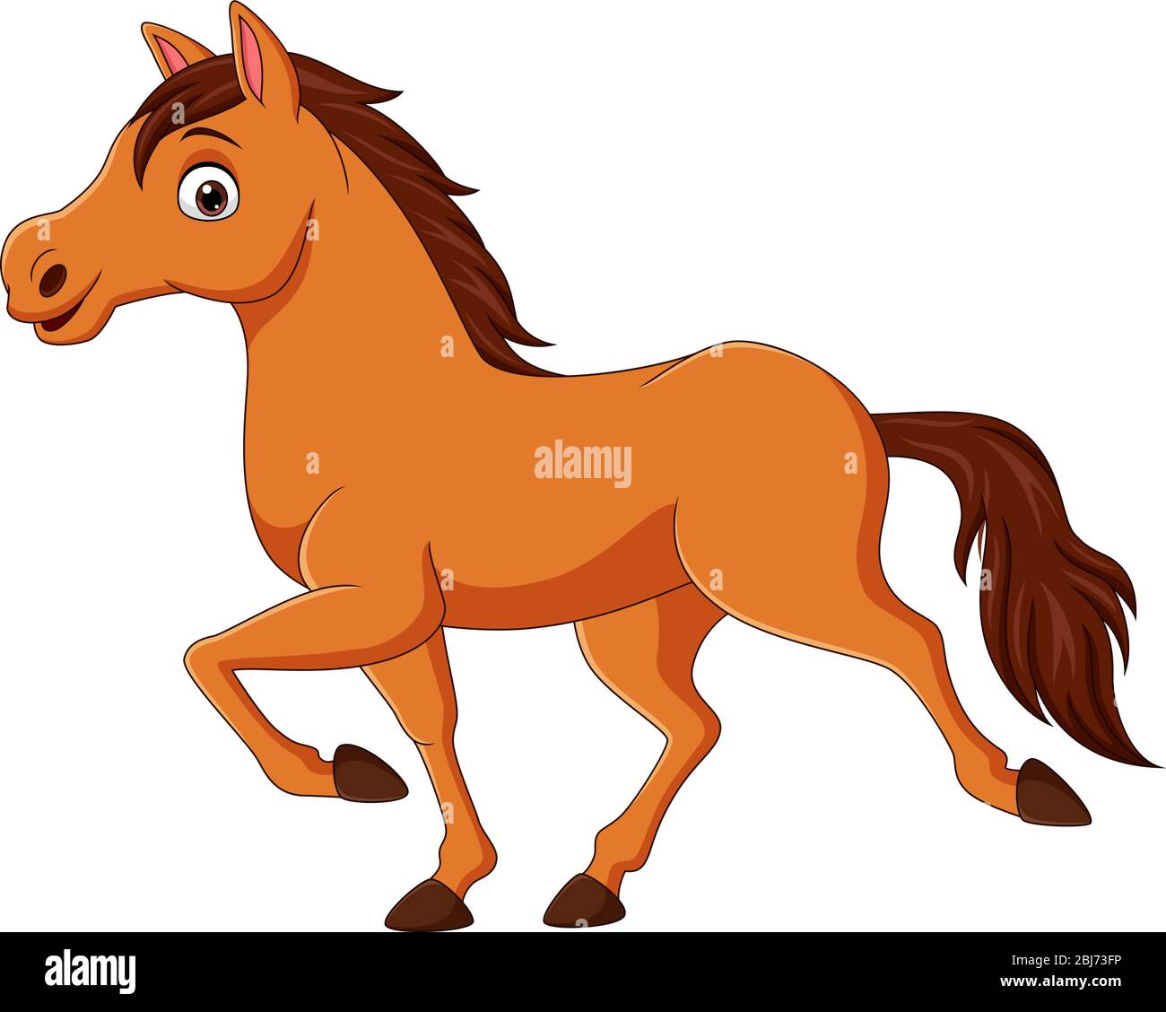 Cartoon Brown Horse Running On White Background Stock Vector Image Art Alamy