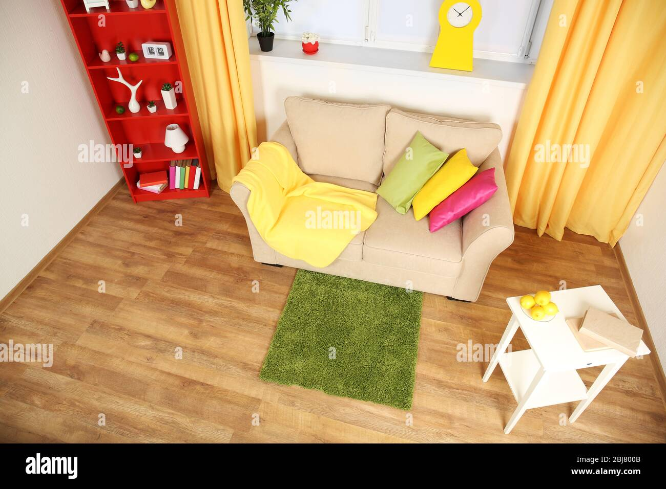 Modern Living Room Interior With Beige Sofa And Small Green Carpet Stock Photo Alamy