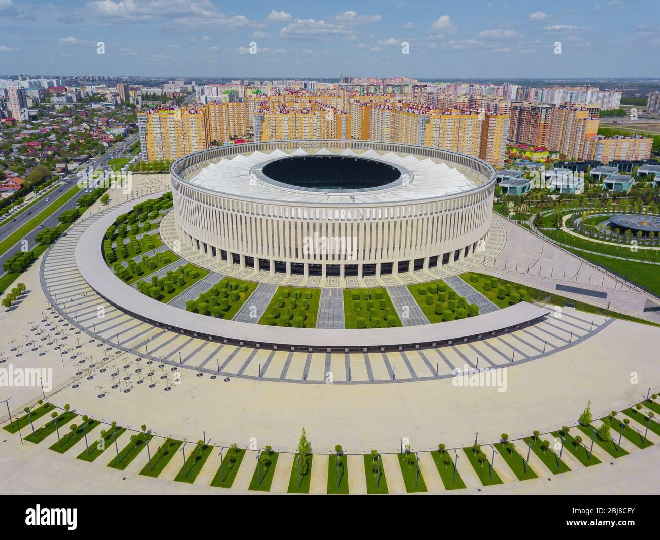 Krasnodar Cityscape And Fc Krasnodar Stadium From Aerial View Stock Photo Alamy
