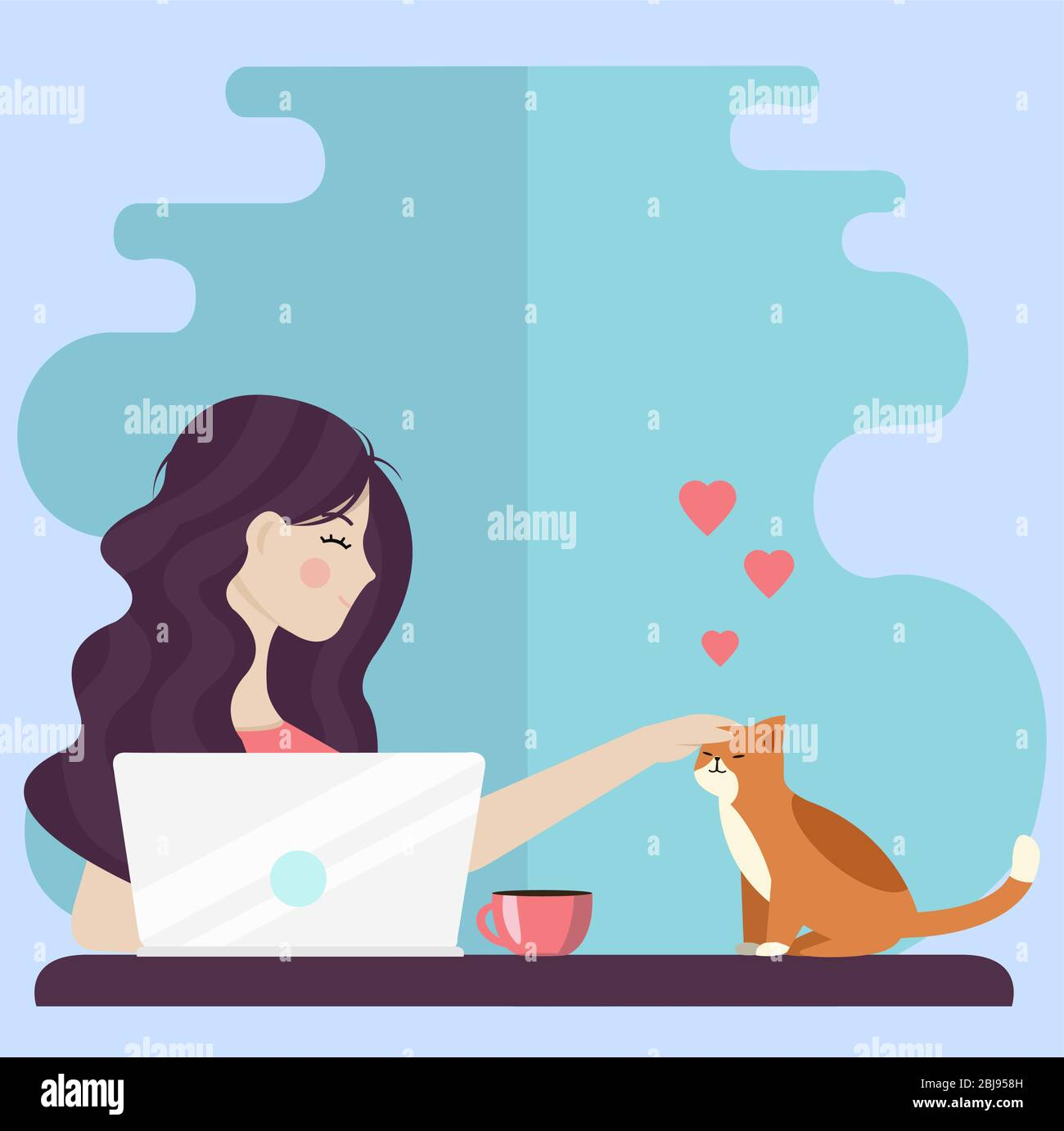 Creative conceptual vector illustration. Working at home office online girl with laptop notebook  and cup of coffee sitting on the floor. Stock Vector