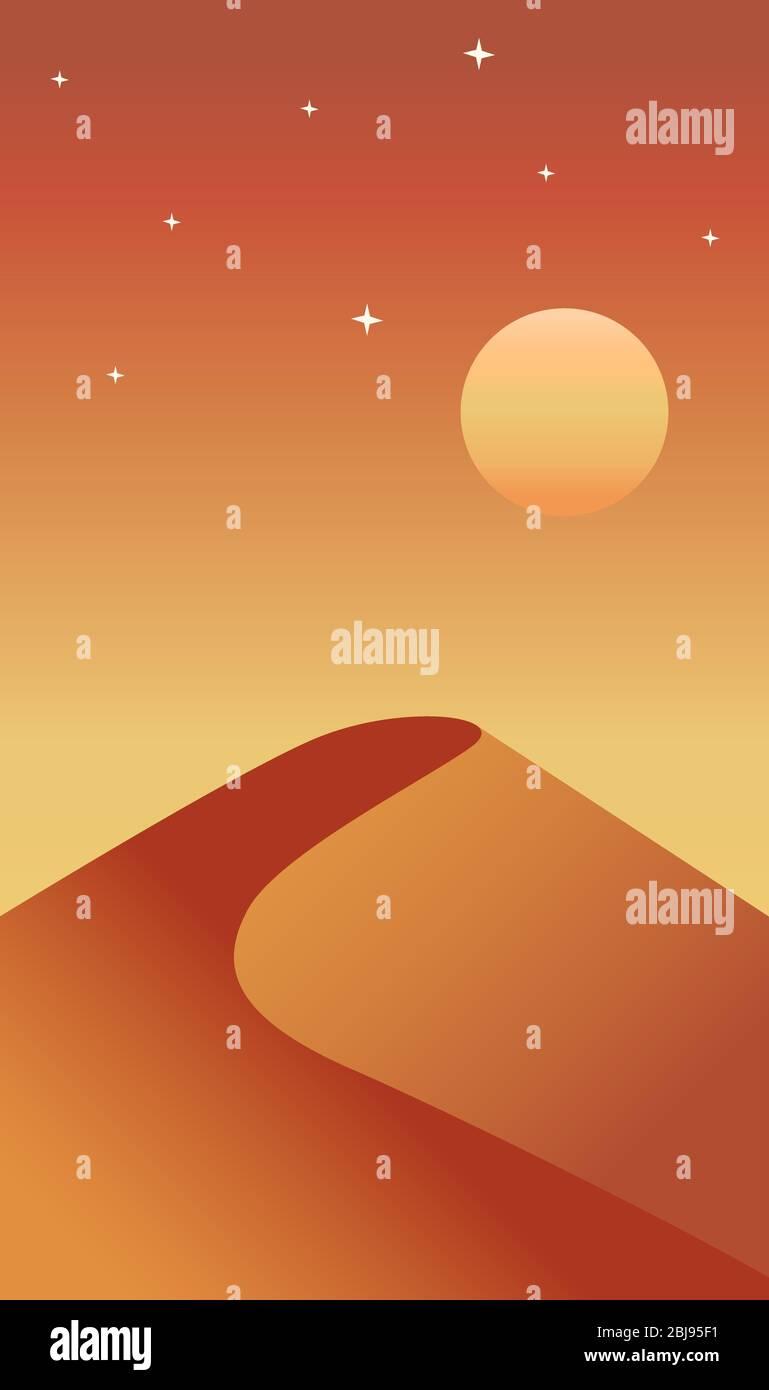 Creative concept vector illustration desert dune sand hill landscape in the sunset sundown dusk background. Stock Vector