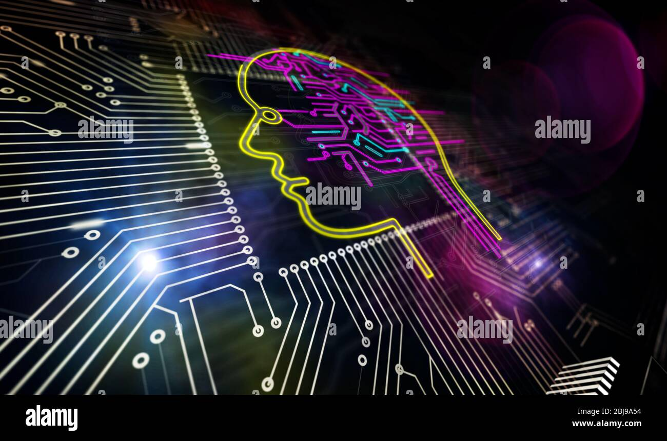 Artificial intelligence, cyber head shape and futuristic learning machine. AI CPU production line abstract 3d rendering illustration. Processor factor Stock Photo