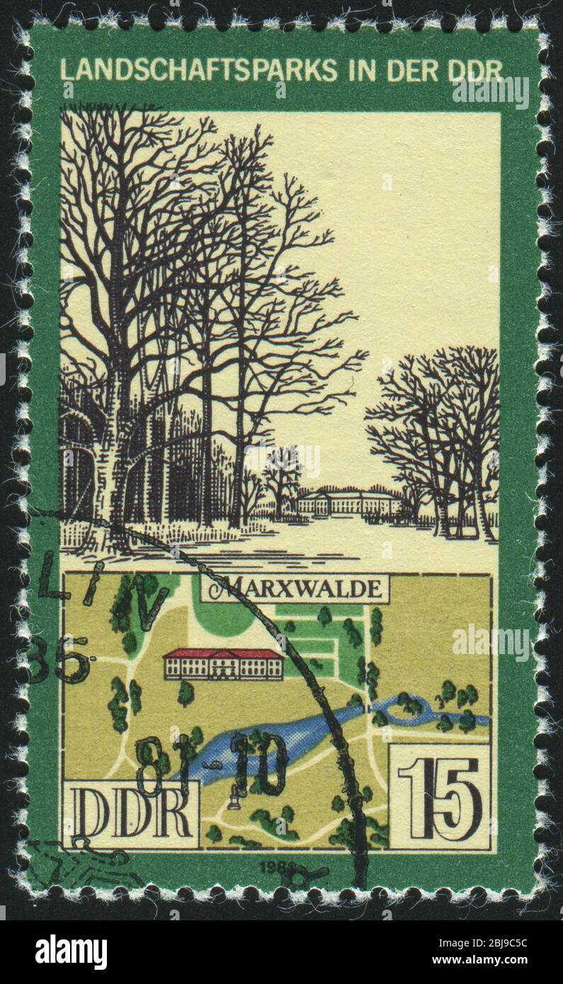 GERMANY- CIRCA 1981: stamp printed by Germany, shows View and Map of Marxwalde Park, circa 1981. Stock Photo