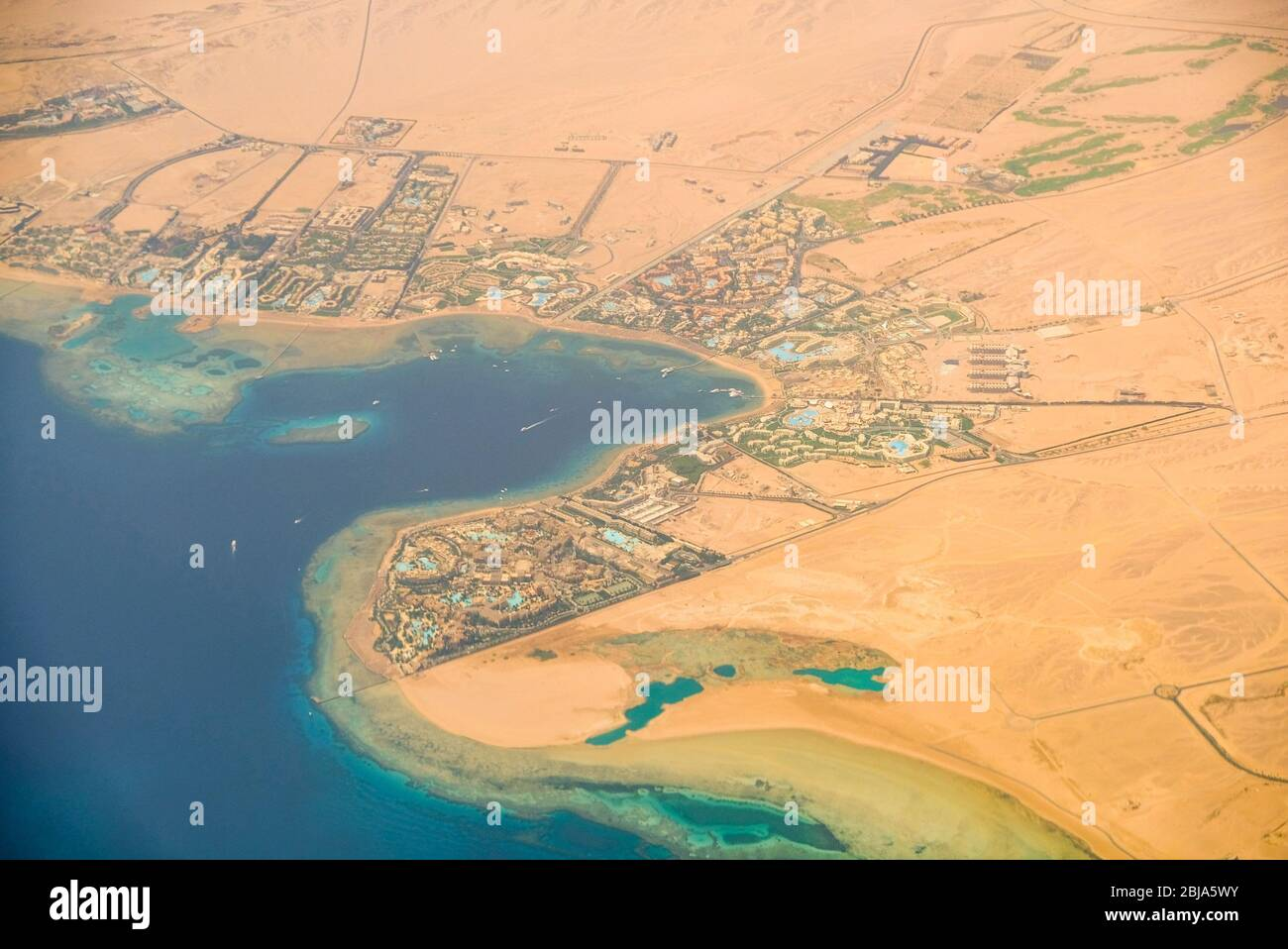 Aerial View Of The Red Sea Tourist Resorts In Hurghada Egypt Stock Photo Alamy