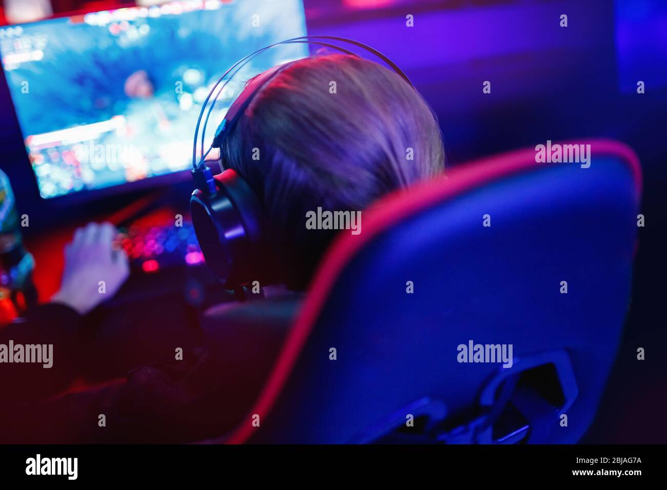 Professional Cyber Video Gamer Studio Room With Computer For Stream In Neon Blue Red Color Blur Background Soft Focus Stock Photo Alamy