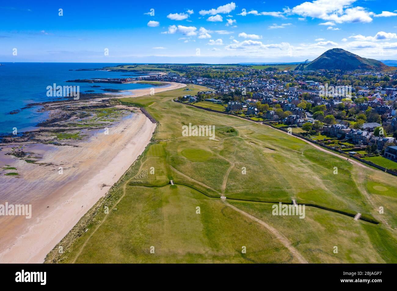 Aerial view of North Berwick beach and North Berwick Golf Club, East Lothian, Scotland, UK Stock Photo