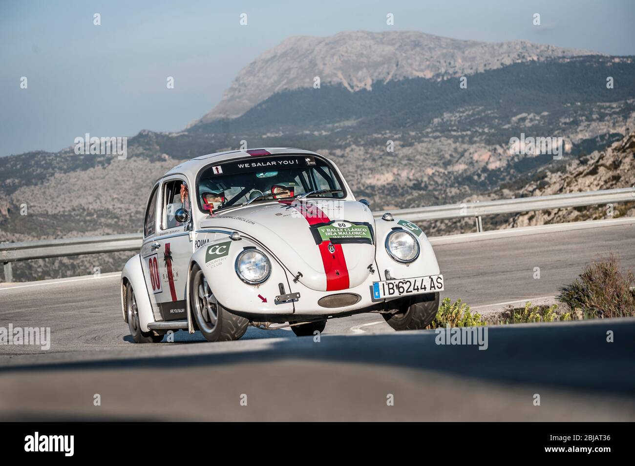 White 1965 Volkswagen Beetle Classic Car Racing In The Classic Car Rally Mallorca Stock Photo Alamy
