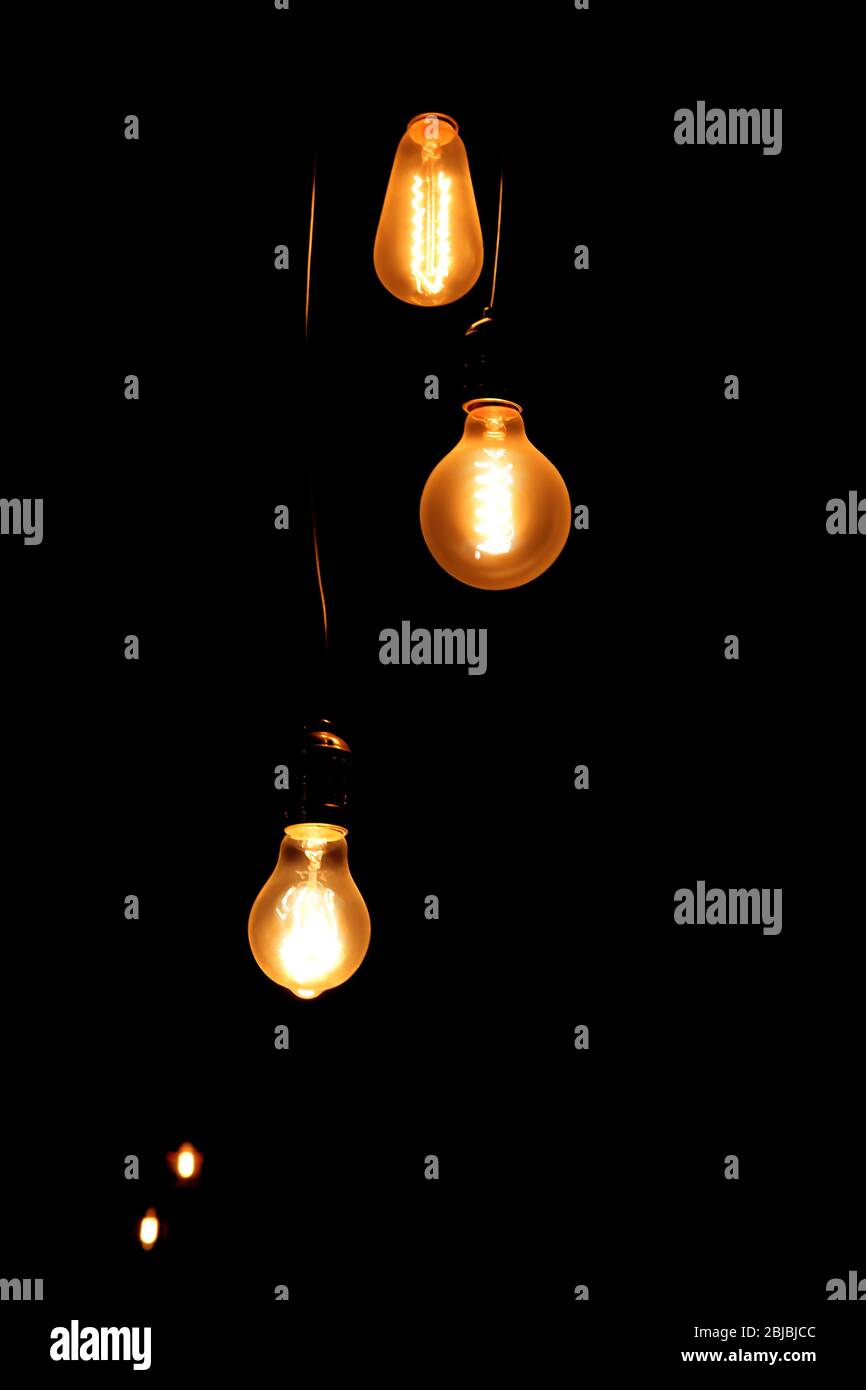 Decorative Lighting Bright Lamps In The Dark Stock Photo Alamy