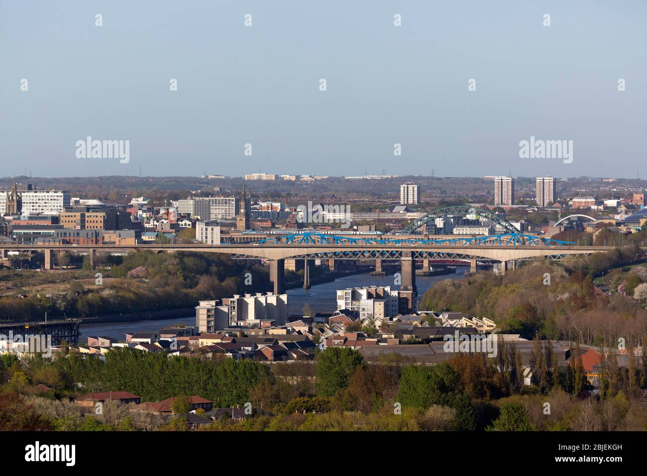 A cityscape of Newcastle upon Tyne, England. The Redheugh Bridge spans the River Tyne between Newcastle and Gateshead. Stock Photo