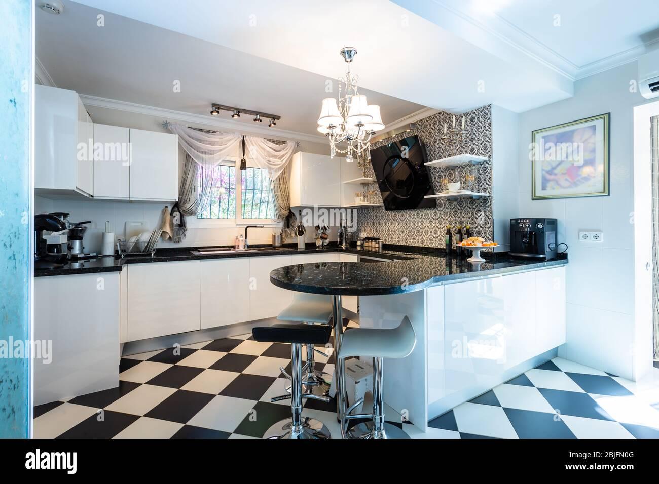 Stylish Kitchen In Black And White Tones Black And White Marble Kitchen Equipment Soft Light Stock Photo Alamy