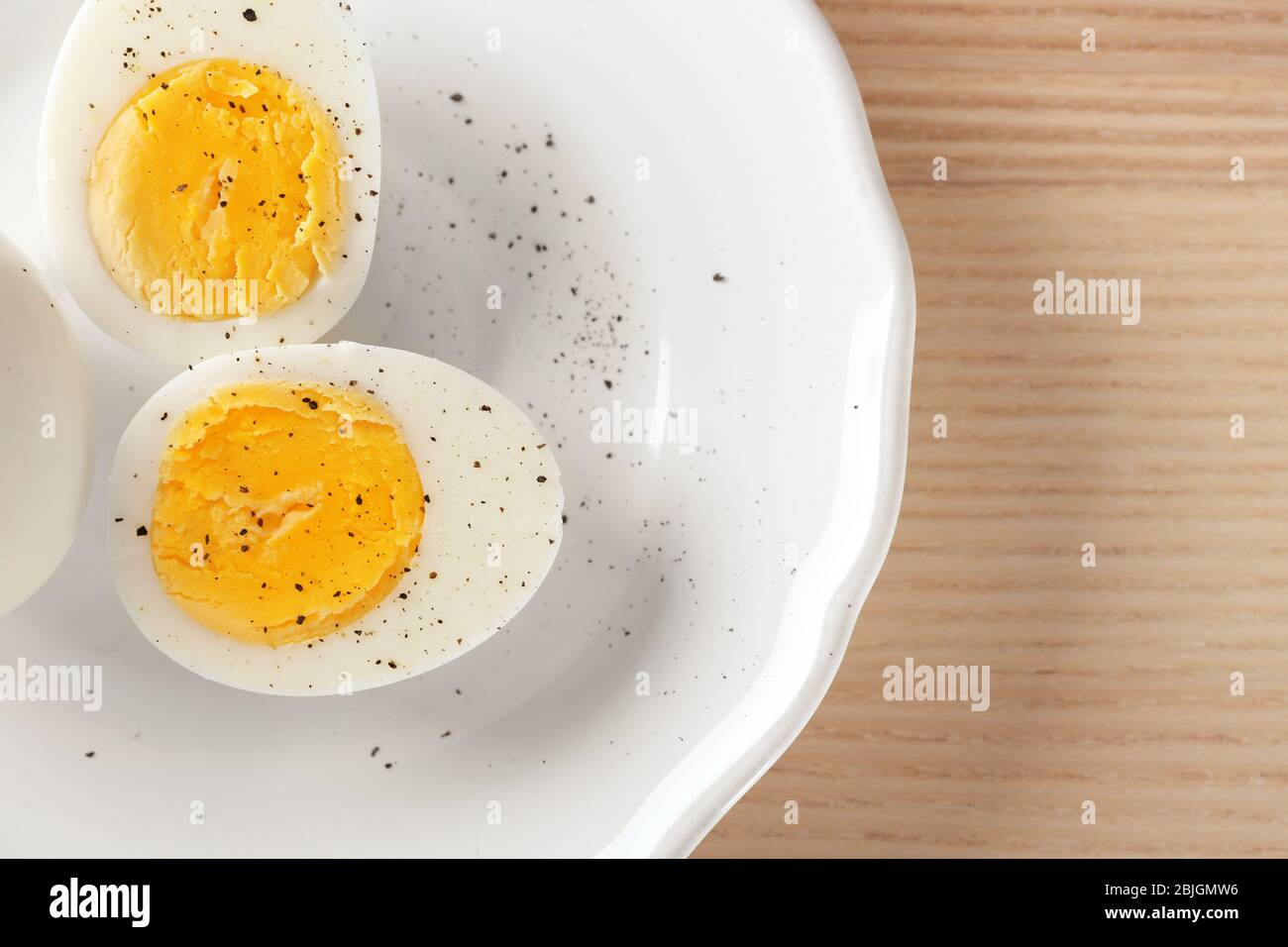 White Ceramic Plate With Hard Boiled Eggs On Table Nutrition Concept Stock Photo Alamy
