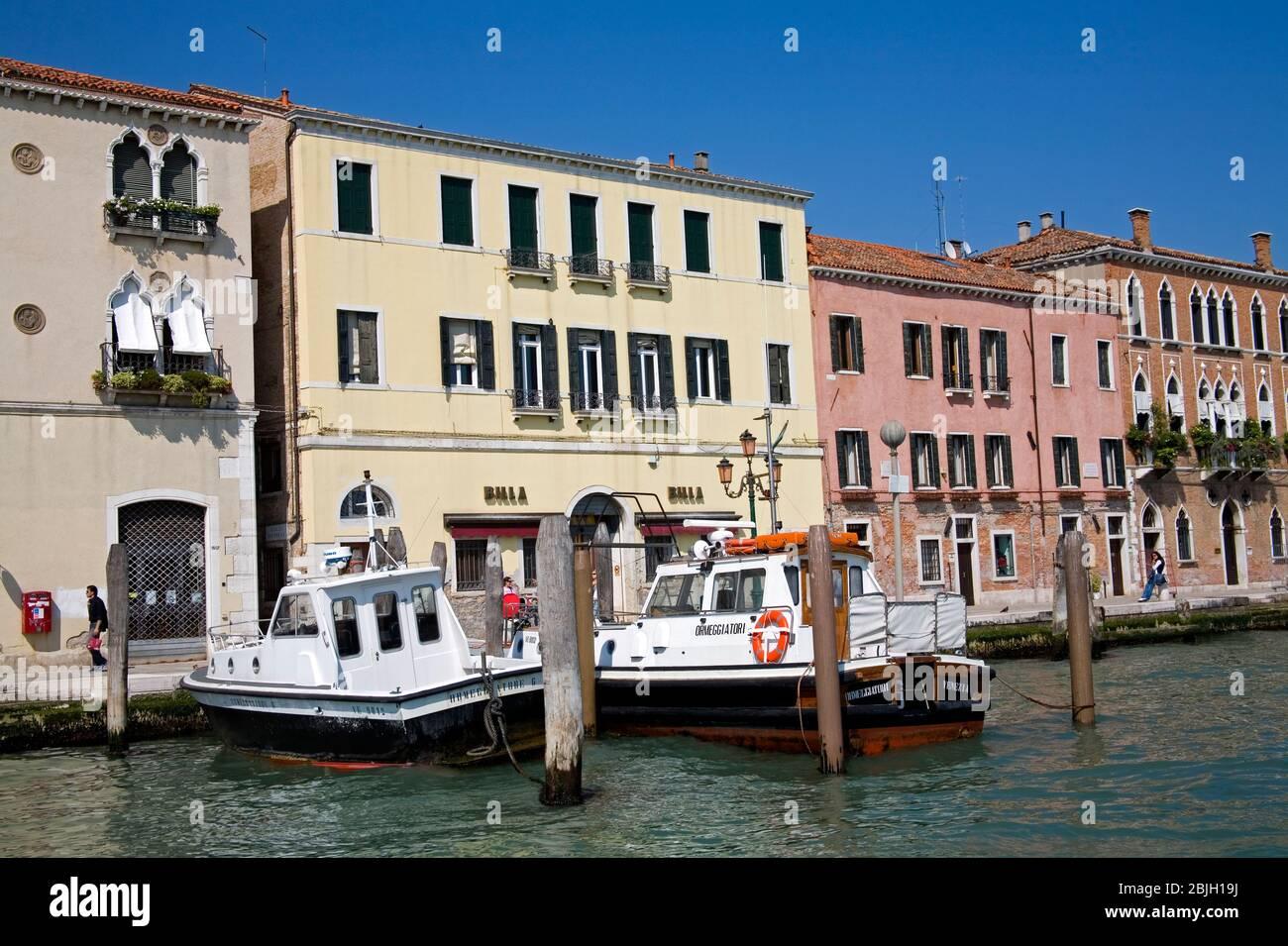 Police Boats,Santa Marta District, Canale di Fusina, Venice, Italy Stock Photo