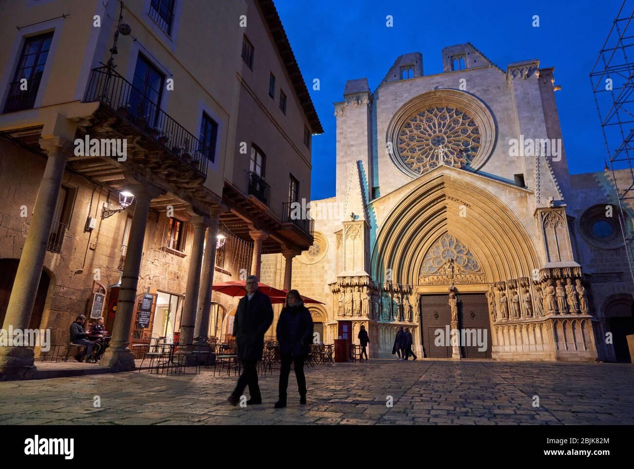 Cathedral, Pla de La Seu, Tarragona City, Catalonia, Spain, Europe Stock Photo