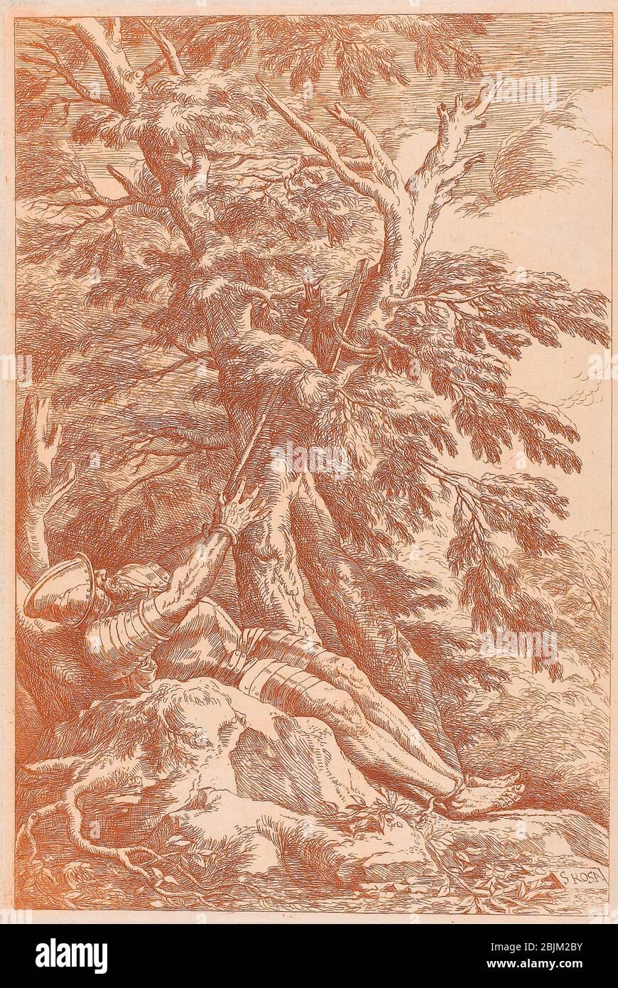 Author: Salvator Rosa. Saint William of Maleval - c. 1780 - After Salvator Rosa Italian, 1615-1673 Carlo Antonini c.1740 - c.1784. Etching in Stock Photo