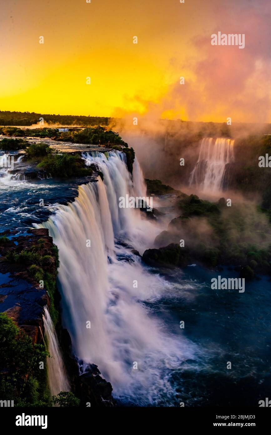 Iguazu Falls (Iguacu in Portugese), on the border of Brazil and Argentina. It is one of the New 7 Wonders of Nature and is a UNESCO World Heritage Stock Photo
