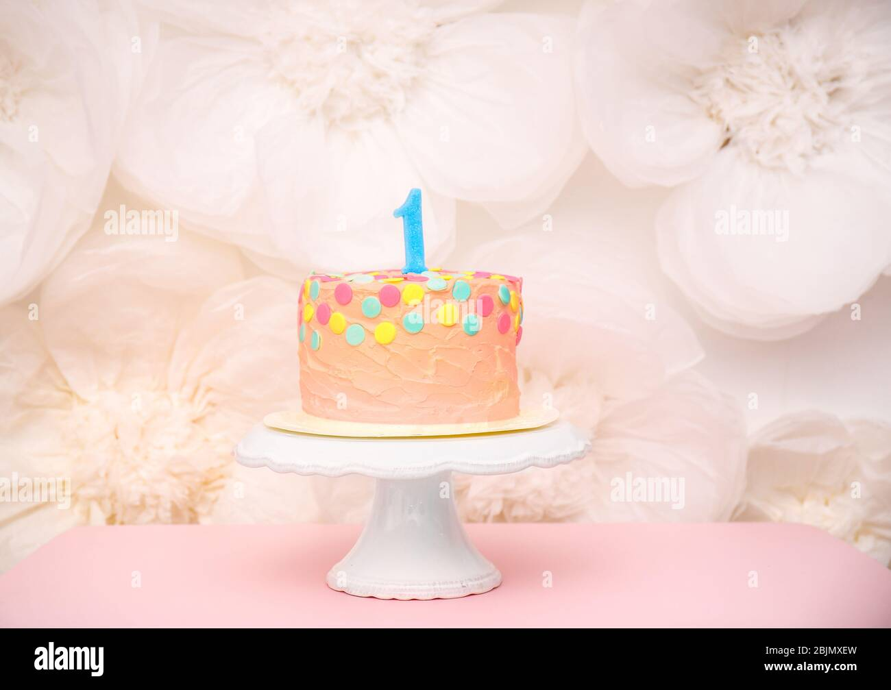 Amazing First Birthday Cake With Candle On Table Stock Photo 355731009 Funny Birthday Cards Online Sheoxdamsfinfo
