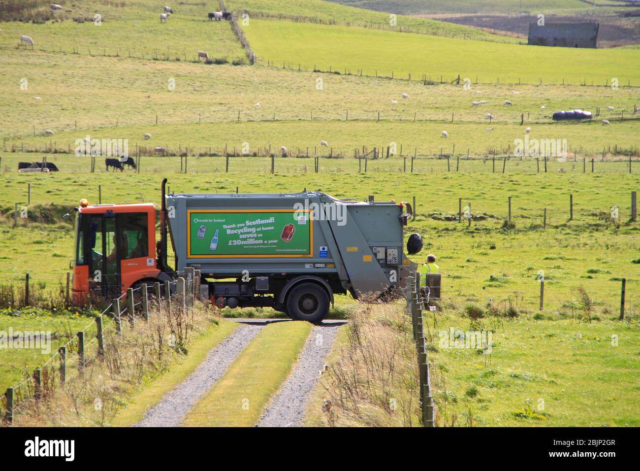 Domestic recycling collection in rural Scotland Stock Photo