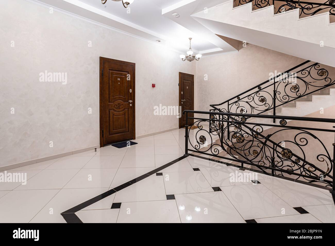 Spacious Entrance Hall With Light Walls And Marble Floor Front Entrance Foyer Entrance Hall Of A Large City House Stock Photo Alamy